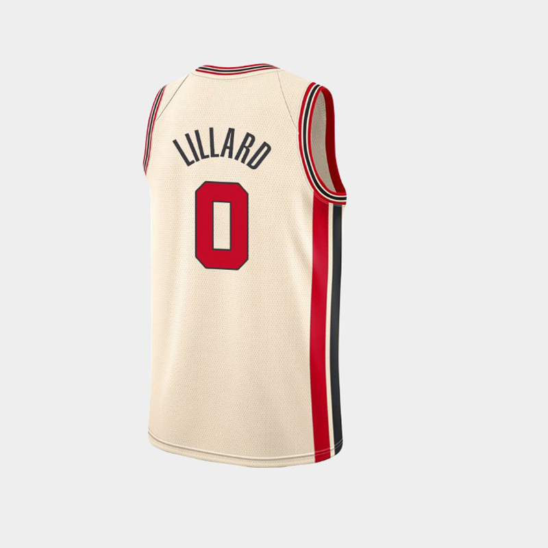 开拓者0号利拉德新款城市版球衣米白色3号CJ麦科勒姆篮球服高清大图