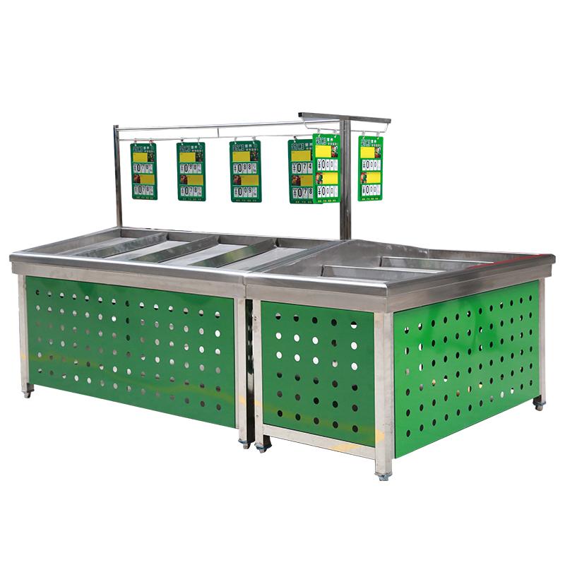 精品冰鲜台不锈钢生鲜台超市水果蔬菜货架子自由组合展示架永辉款