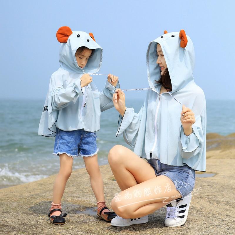 夏季韩版亲子款防晒衣母女短款莫代尔薄透气皮肤衣防紫外线外套 18