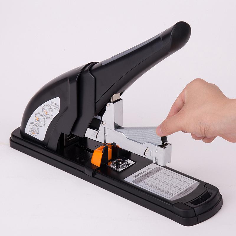得力0385重型订书机送起钉器装订神器加厚订书器省力型 厚层大号装订机 最大可订210页70G纸张130页100页