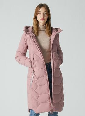 冰洁修身轻薄羽绒服女冬中长款2020年新款紫色时尚飘带连帽外套潮