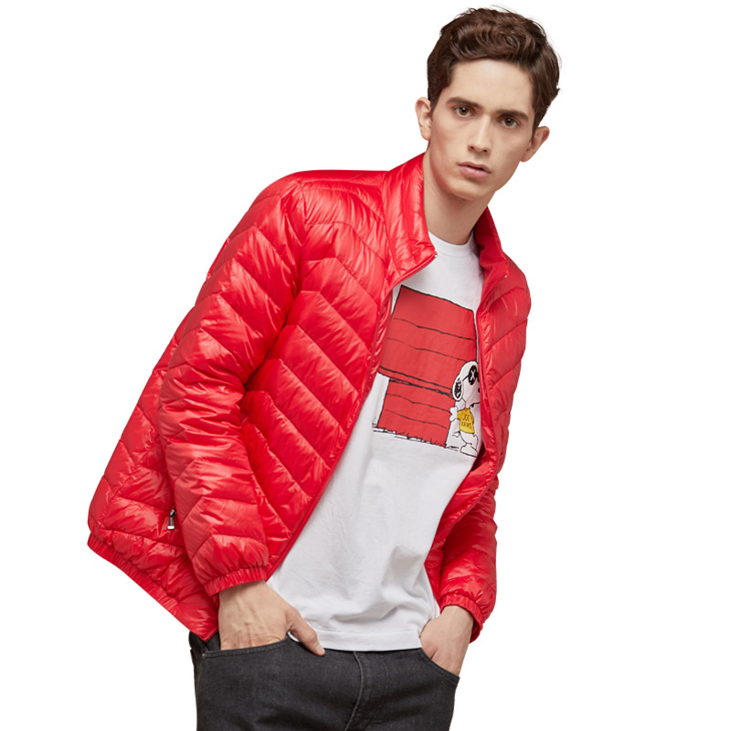 冰洁轻薄秋羽绒外套自紧袖口男士纯色羽绒服J70130003F