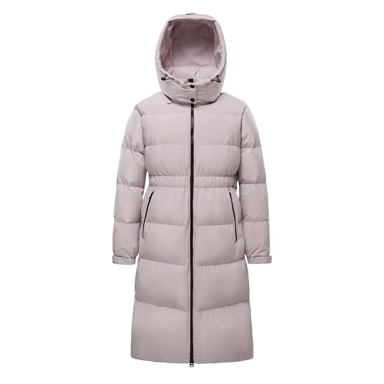 雪中飞2021秋冬新款女士温暖连帽立体收腰户外高峰滑雪长款羽绒服