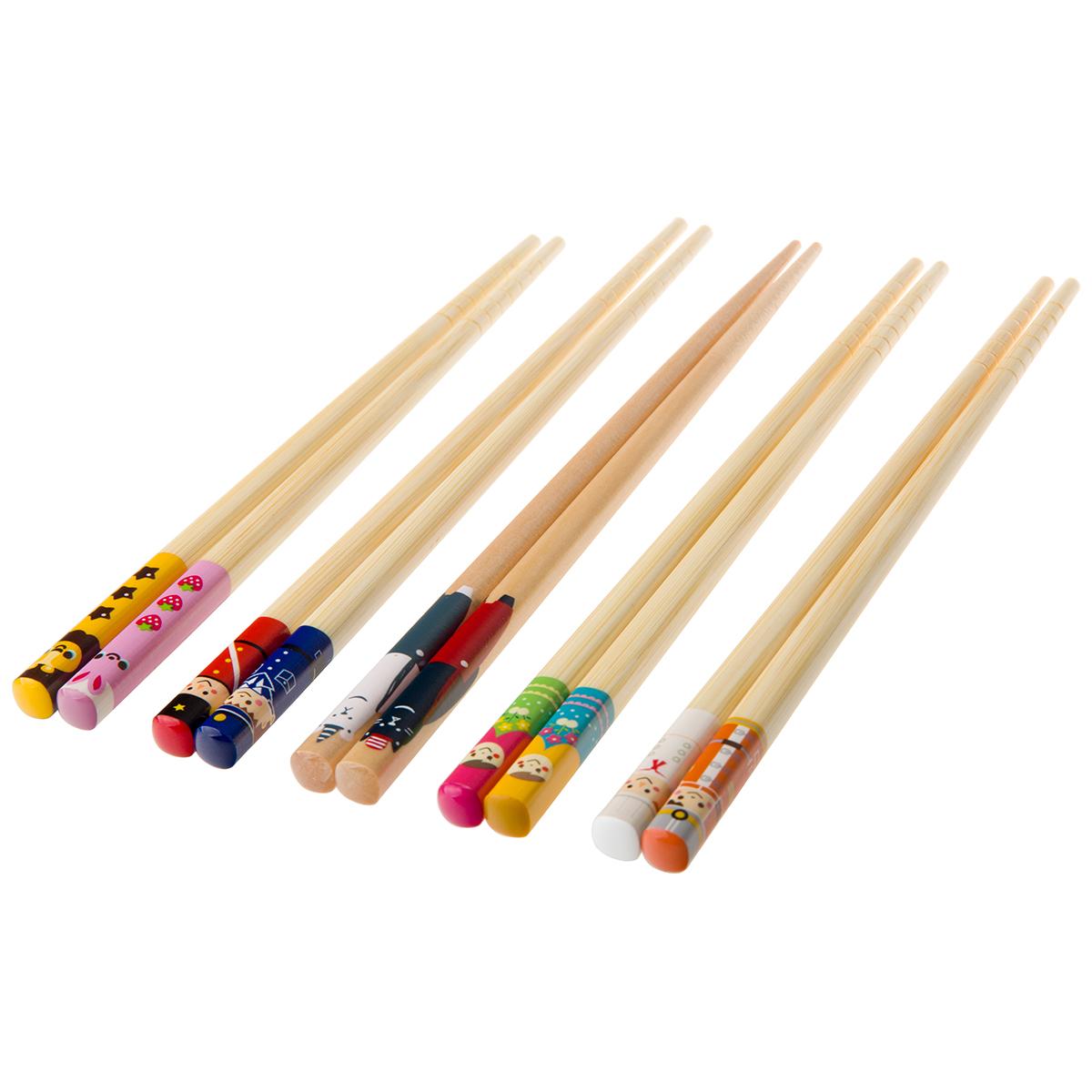 儿童筷子家用宝宝小孩筷可爱卡通幼儿园训练筷餐具木质短快子套装