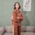 Women's winter flannel pajamas plus velvet thick coral fleece home wear long-sleeved women's fall/winter stand-up collar warm suit