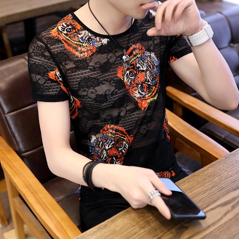 冰丝t恤男镂空网格个性韩版潮流半袖衣服夏季男装印花短袖男潮牌