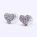 Luna Sofia inlaid diamond heart-shaped earrings Clarity group should wear good color cut diamonds and 40 minutes