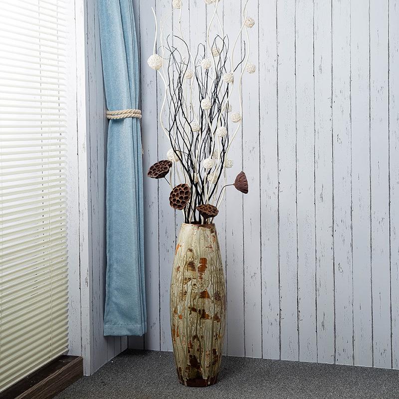 落地大花瓶 仿真花干花套装 中欧式时尚复古客厅陶瓷插花摆件新款