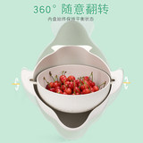 Double-layer wash basin flip spout water basket washing god to momi rotating vegetable pot kitchen leak-washed fruit dish