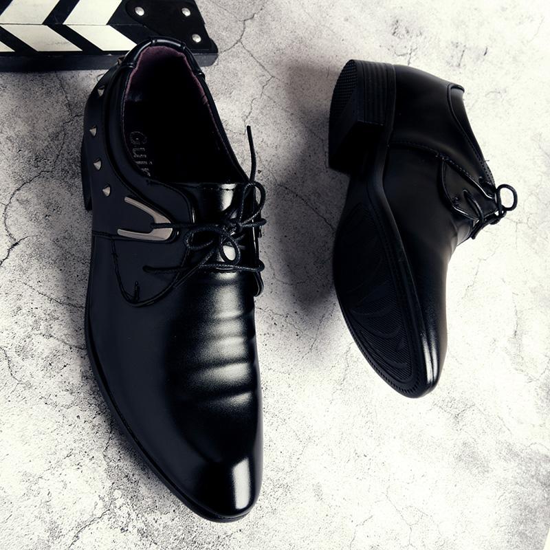冬天加绒男士正装黑皮鞋工作商务尖头潮鞋英伦休闲青年西装男鞋子