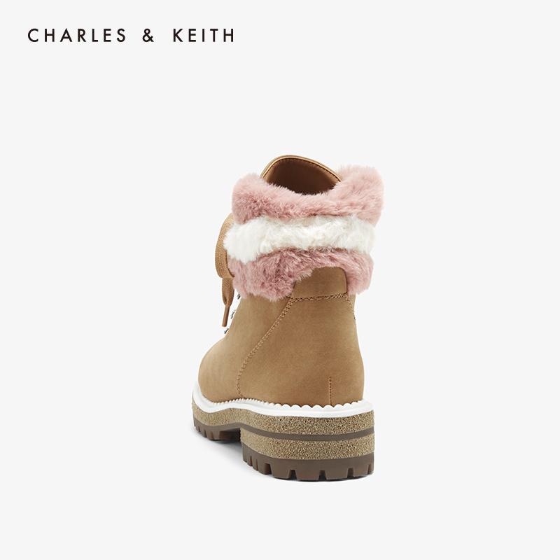新加坡 CHARLES&KEITH 女士 雪地厚底圆头及踝马丁靴