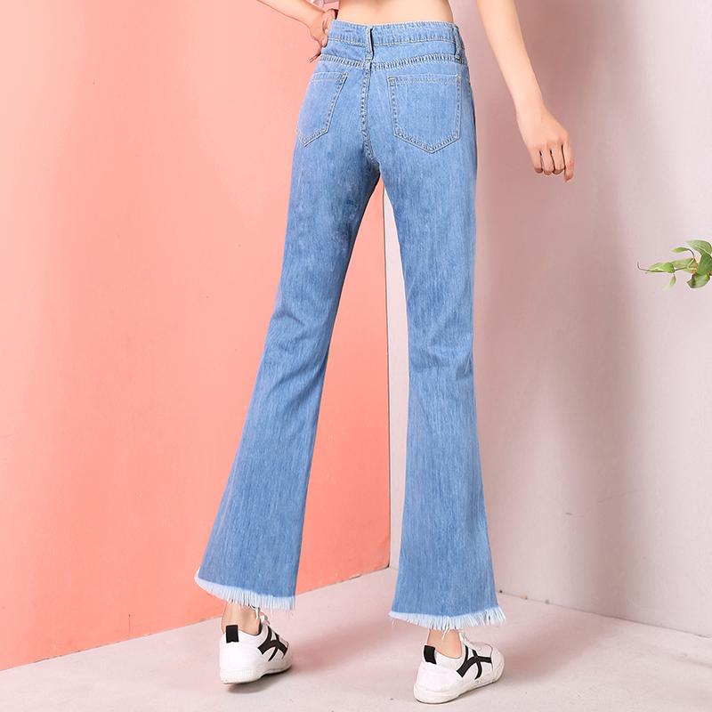 春季薄款牛仔喇叭裤女2020新款阔腿宽松高腰显瘦喇叭九分微喇裤子