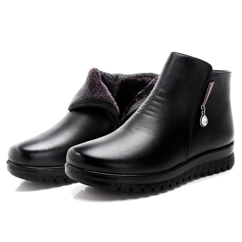妈妈棉鞋女冬工装鞋短皮靴加绒平底中老年鞋防滑孕妇雪地靴工作鞋
