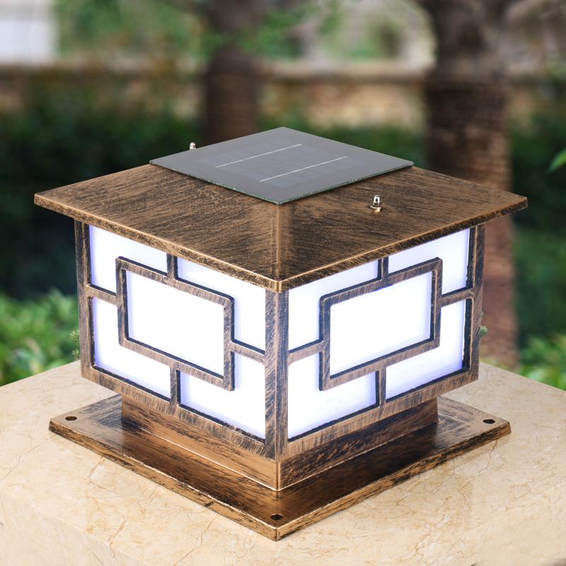 太阳能柱头灯户外防水庭院大门柱子围墙灯花园别墅门柱灯接电超亮