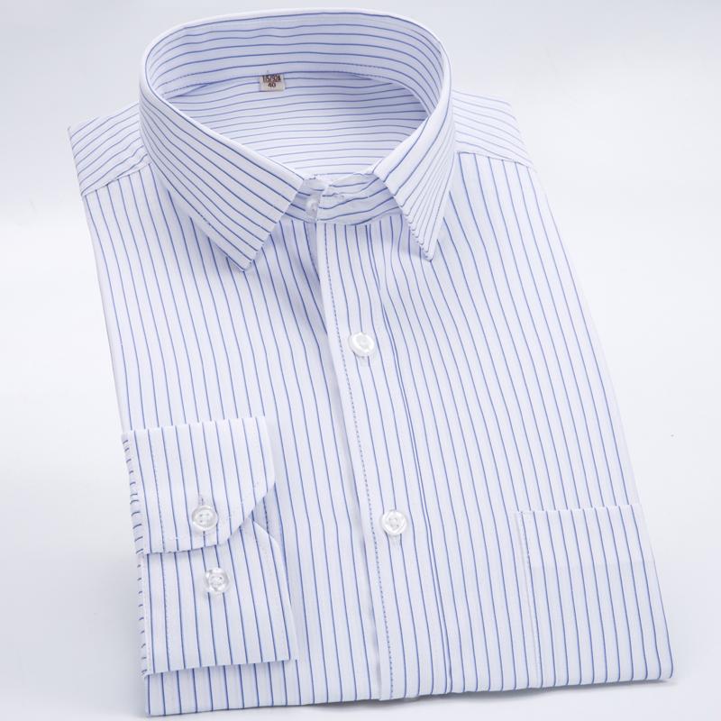 男士商务长袖职业休闲工装白色条纹衬衣宽松加大码定制衬