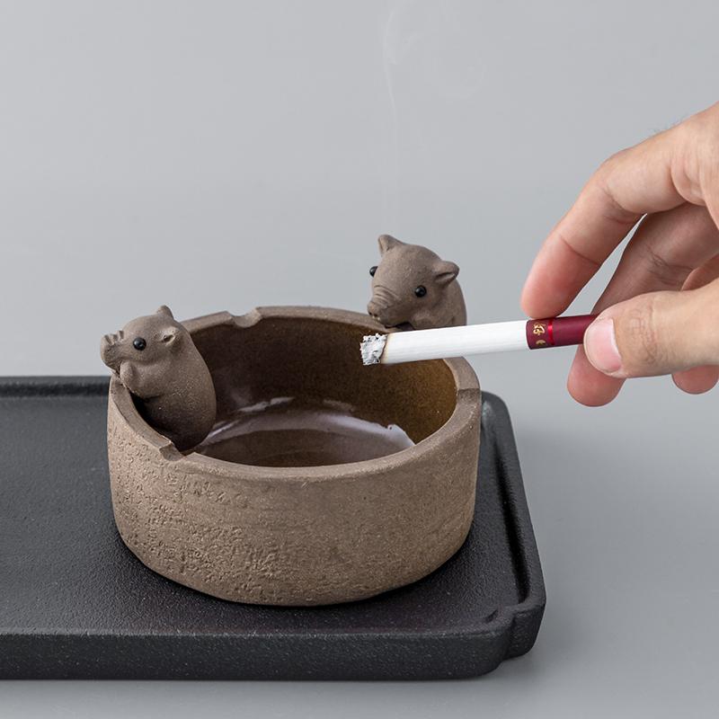 茶具配件小猪喝水茶桌可养紫砂茶宠物摆件精品创意茶盘茶玩小摆件