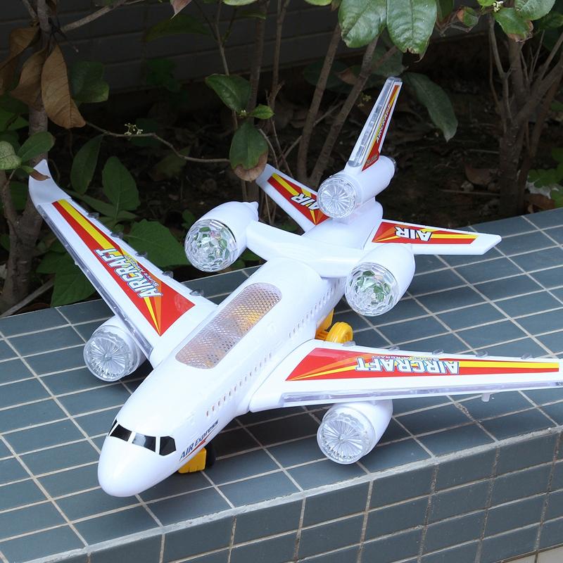 空中巴士A380闪光电动飞机直升机儿童电动玩具飞机模型拼装玩具Q