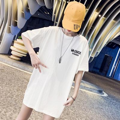 2019新款歐貨大版寬松t恤女短袖心機白色歐洲站中長款大碼小眾夏