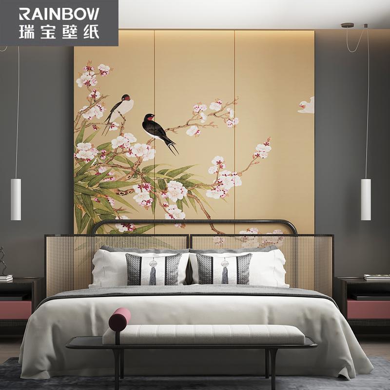 瑞寶壁紙中式梅花背景墻布古典花鳥無紡布墻紙花朵影視墻防水家用