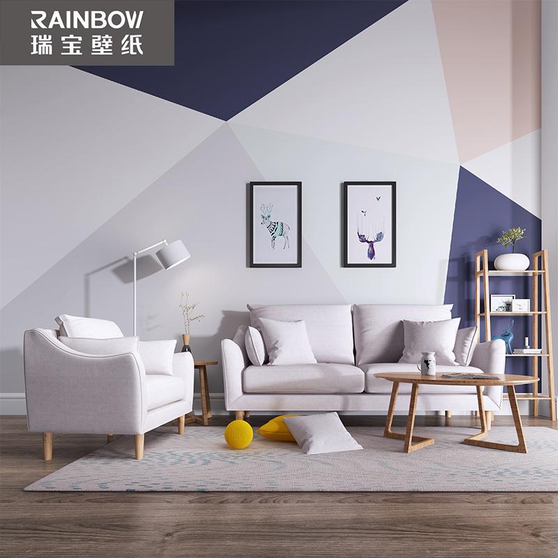北欧无缝无纺布壁画棱镜电视背景墙沙发简约现代客厅 瑞宝壁纸