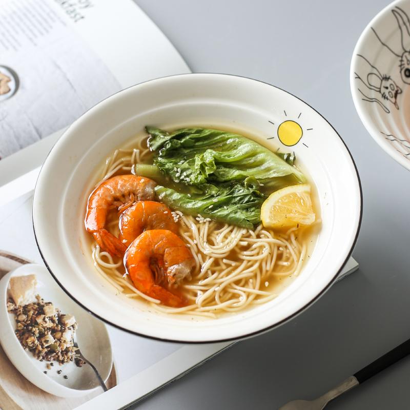 斗笠陶瓷碗单个泡面碗家用汤碗日式餐具一人食面碗年轮碗大碗饭碗