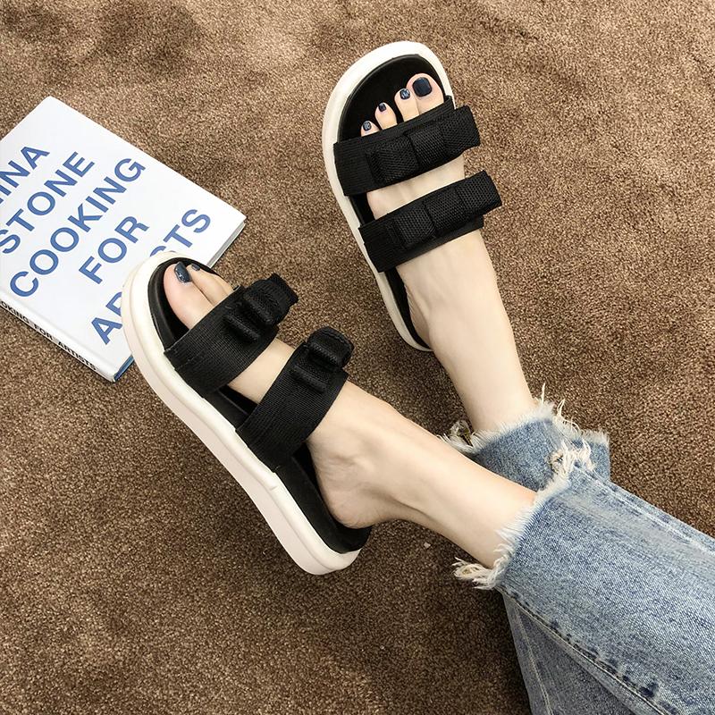 潮 ins 新款夏季时尚百搭可湿水网红沙滩运动凉拖鞋 2019 拖鞋女外穿