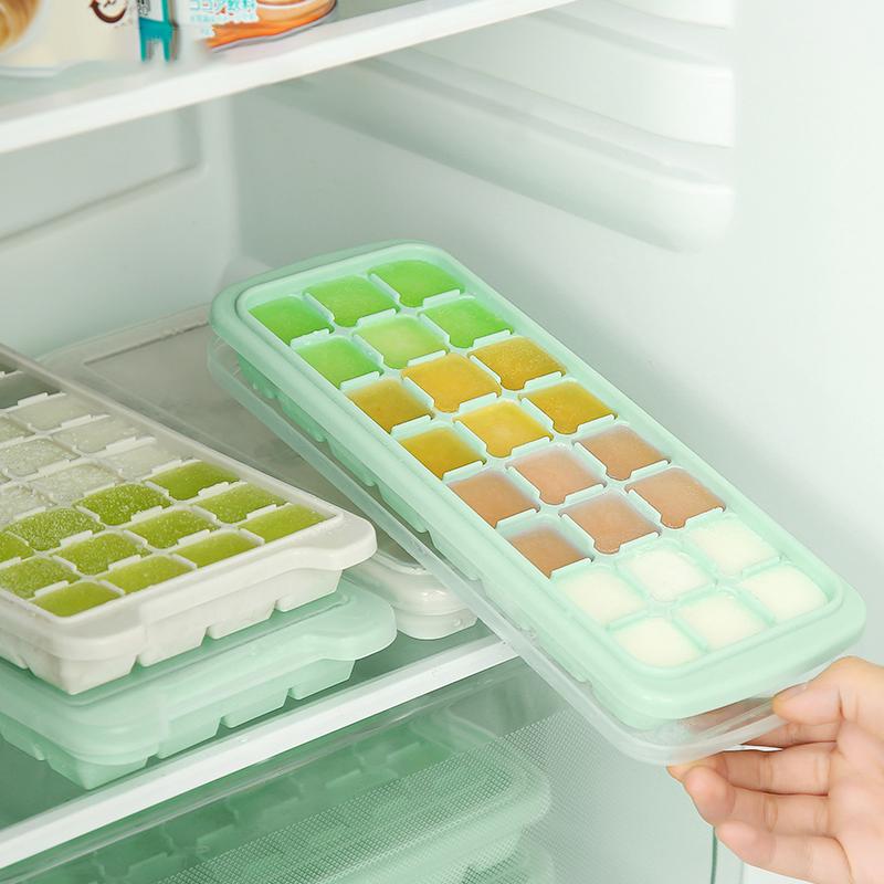 日本創意矽膠冰格製冰盒帶蓋冰塊模具製冰器冰棍雪糕模具凍冰塊盒