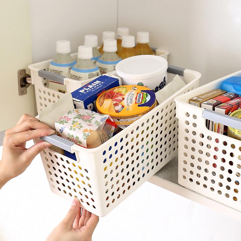 日式手提塑料收纳篮整理收纳筐浴室桌面化妆品小篮子厨房置物框