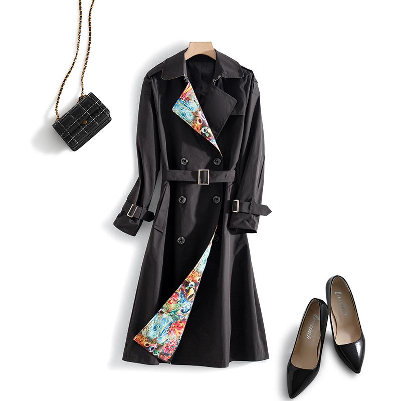 秋季新款长款外套 2020 品牌折扣女装 007 气质印花风衣 甄选好物