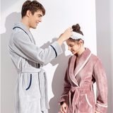 Nightgown women autumn and winter coral fleece pajamas couple large size pair thickened long flannel bathrobe men winter
