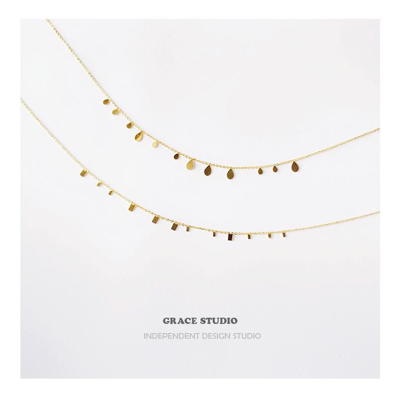 GRACE有间工作室 法式超闪叠戴小方片锁骨链女简约百搭设计师项链