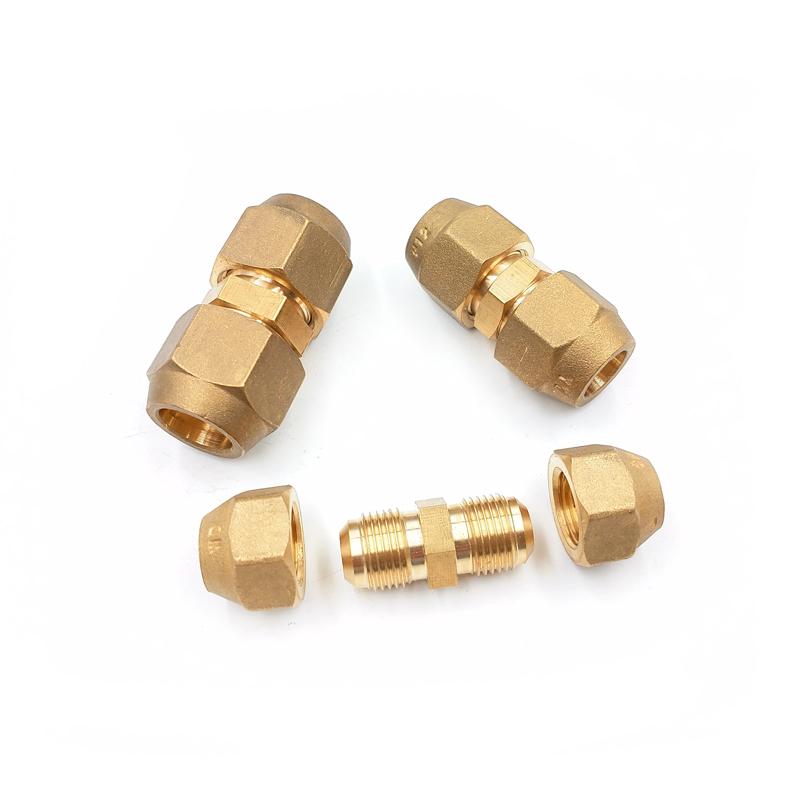 空调铜管对接头延长铜管接头铜管快速接头免焊接双头扩口直通配件