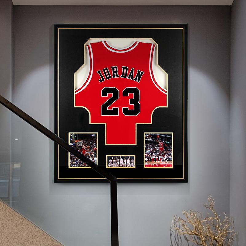 现代实物装饰画高档个姓创意挂画科比篮球衣装裱壁画玄关客厅墙画