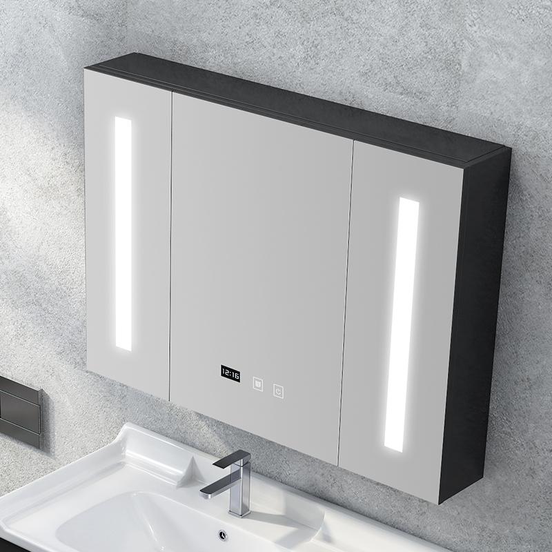 浴室鏡柜掛墻式智能帶燈衛生間鏡面浴室柜實木洗手間鏡子帶置物架