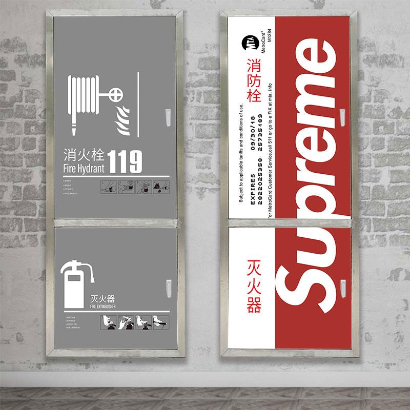 消防栓装饰遮挡箱创意柜门贴纸美化灭火器卡通加厚防水翻新自粘画