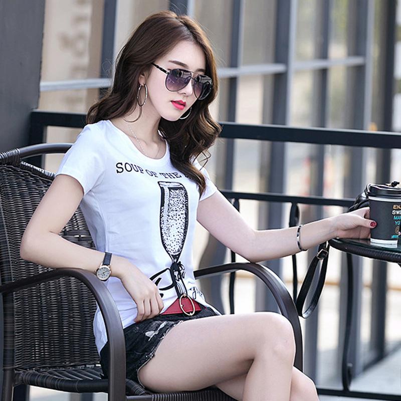 2021夏装新款字母T烫钻t恤女短袖修身韩版重工半袖纯棉打