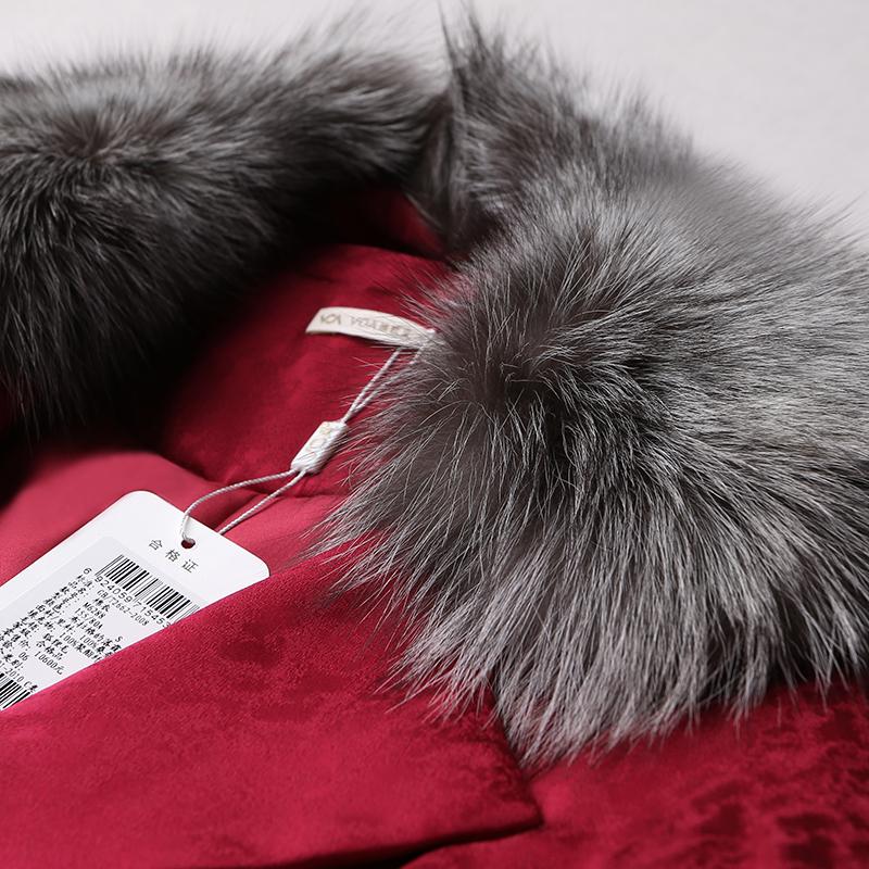 VOA提花真丝可脱卸狐狸毛大翻领勃艮第酒红长袖单排扣棉衣M6288