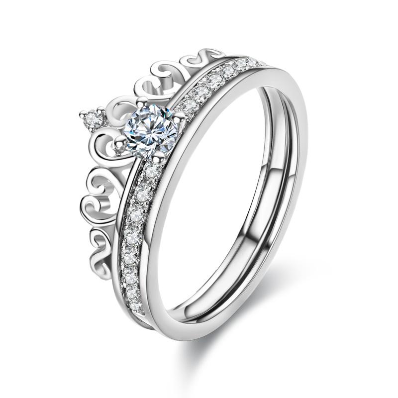 18K白金GIA30分钻石皇冠戒指彩金铂金钻戒求婚结婚砖戒婚戒女正品