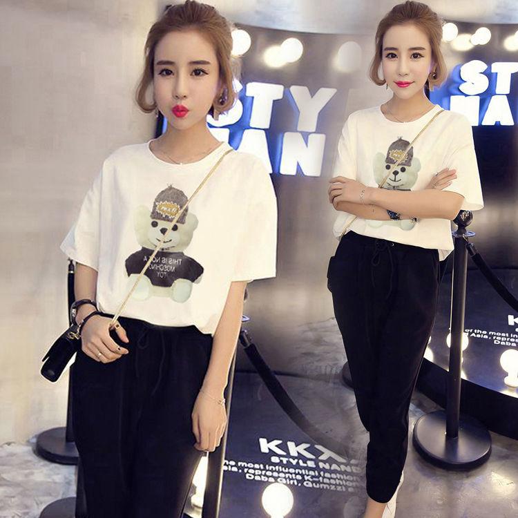 韩版运动套装女夏季新款时尚宽松短袖九分裤学生装跑步休闲两件套