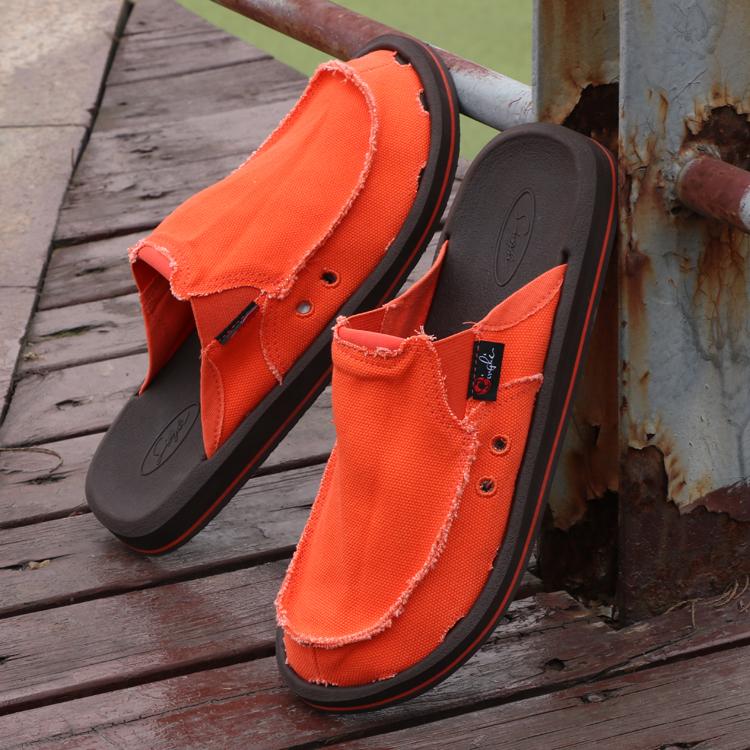 一腳蹬帆布拖鞋休閒鏤空運動套腳懶人鞋夏季透氣寬版平底帆布鞋男