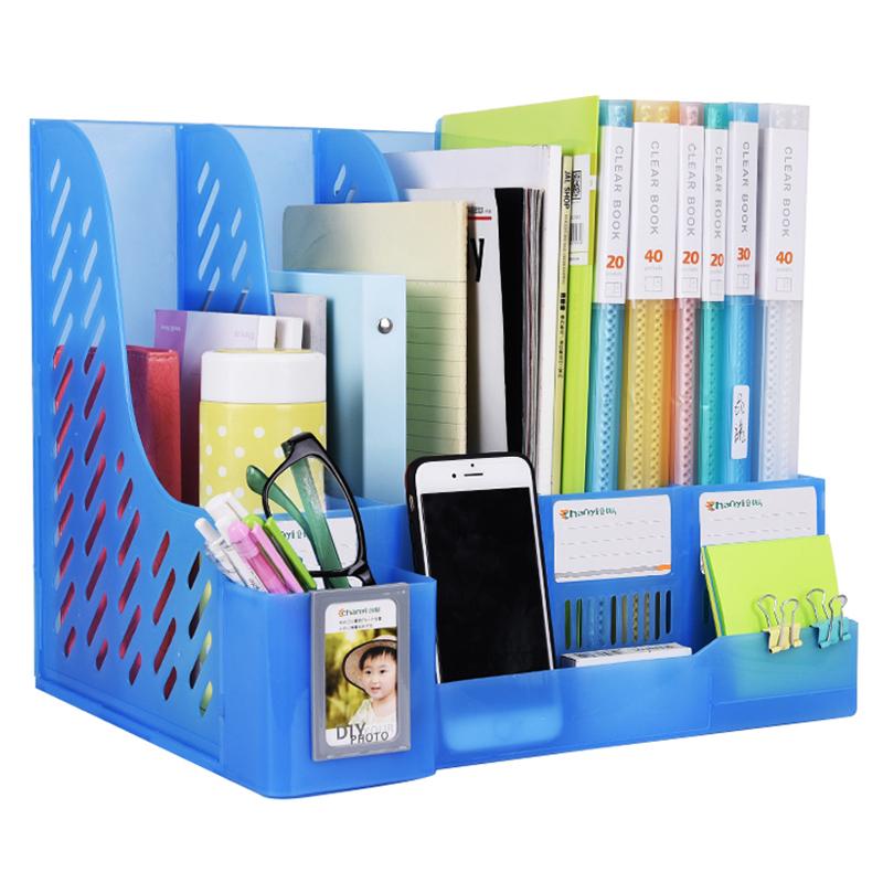 创易四栏文件架框书立书架档筐办公用品大全简易桌上面文件夹收纳盒学生用多层文具袋资料整理置物架子带笔筒