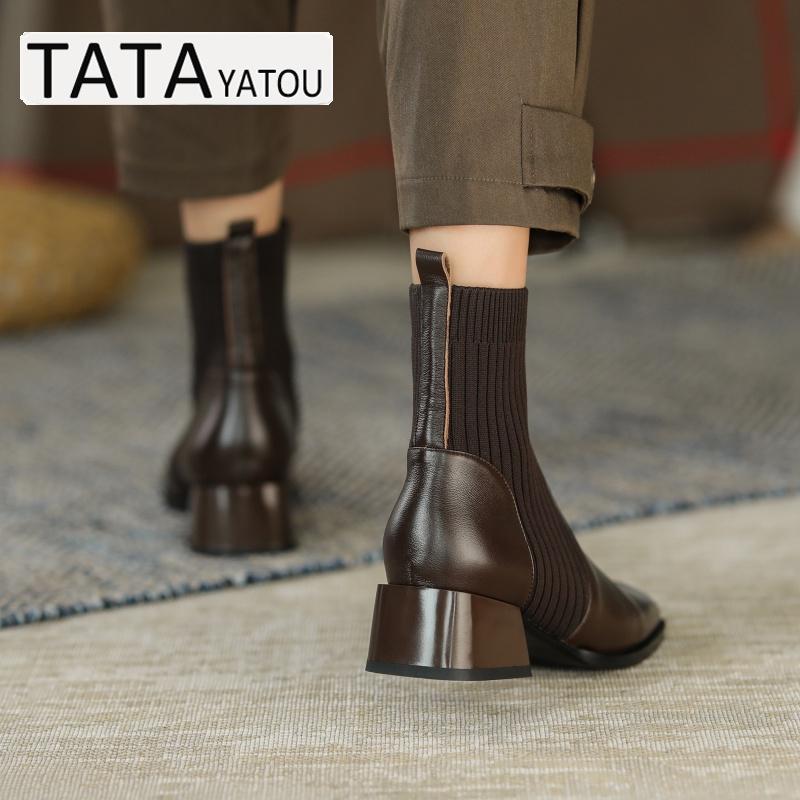 粗跟真皮百搭袜靴女中跟短靴瘦瘦靴单靴他她官方旗舰店 YATOU TATA