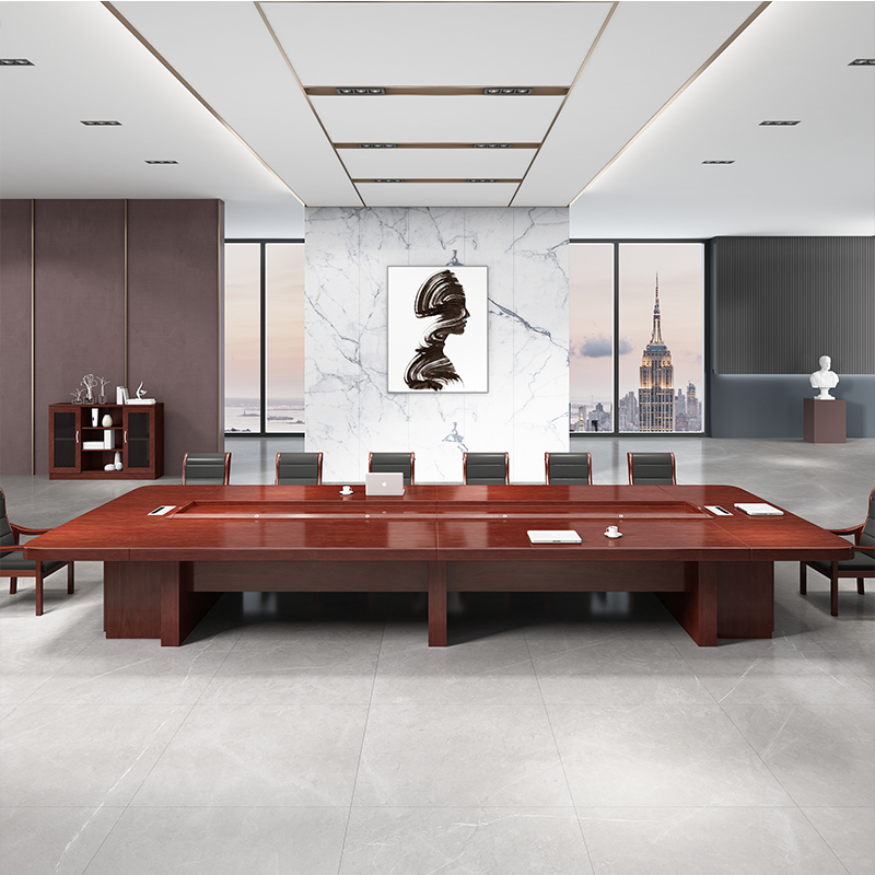 办公家具烤漆会议桌椅组合长桌子大型实木办公桌椅组合接待老板桌