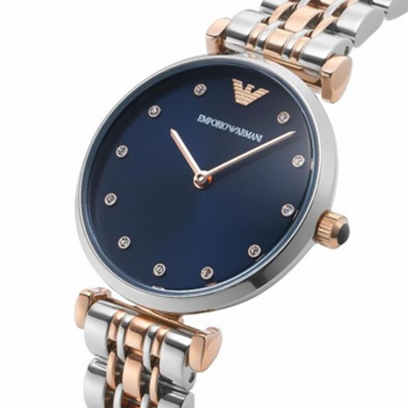 阿玛尼手表女EMPORIOARMANI蓝色时尚休闲石英腕表防水AR11092