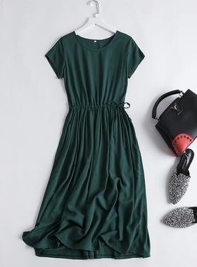棉绸连衣裙夏2021新款短袖人造绵绸裙中长款碎花大摆裙纯色沙滩裙