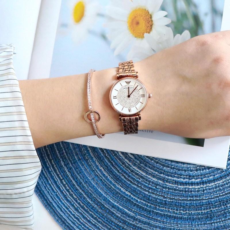 佟丽娅新款ARMANI阿玛尼手表女 满天星镶钻表AR11244