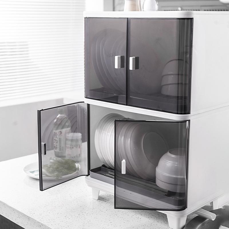 厨房收纳柜小型碗筷沥水收纳盒落地置物架碗碟简易碗柜家用放碗装 No.3