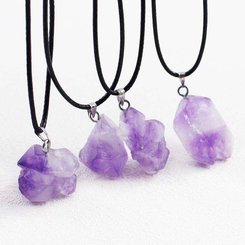 含尚珠宝天然紫水晶吊坠情侣款随型水滴雕刻件男女士饰品项链原石