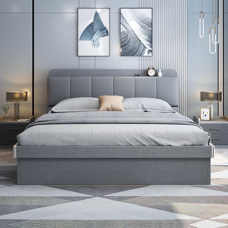 小户型带收纳多功能床 1.5 米高箱储物床现代简约 1.8 北欧主卧床双人