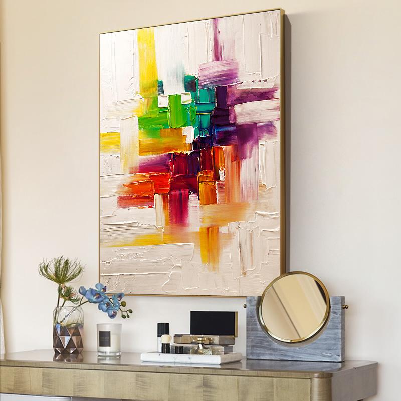 發財樹 客廳玄關入戶裝飾畫餐廳手繪豎版畫厚油色塊抽象刀畫 格調